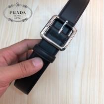 PRADA皮帶-4-01  普拉達原單牛皮平紋皮帶