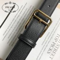 PRADA皮帶-1-02  普拉達原單牛皮荔枝紋皮帶
