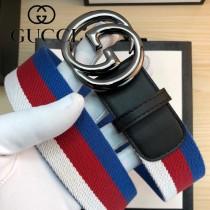 GUCCI皮帶-13-01  古驰原单织带头层牛皮接尾皮帶