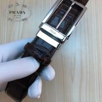 PRADA皮帶-2-02  普拉達原單牛皮鱷魚紋皮帶