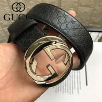 gucci古馳 經典雙G扣原單頭層牛皮壓G面