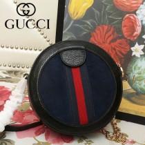 GUCCI-550618-02   古馳新款原版皮復古圓餅包