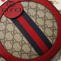 GUCCI-550618-04   古馳新款原版皮復古圓餅包