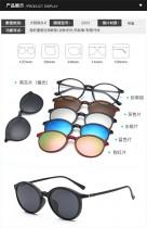 399~1390 男女近視眼鏡框多功能偏光太陽鏡平光鏡雙用五片裝磁吸式套鏡 (近視款默認采用 MR-7 輕薄 1.67 非球面樹脂鏡片)