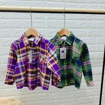 出口日本原单儿童纯棉色织春季长袖衬衫