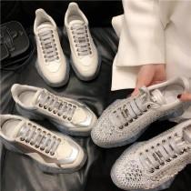 jimmy choo2019春夏新款c系带真皮厚底内增高水钻水晶低帮休闲运动鞋女老爹鞋