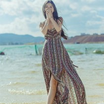 海边海滩波西米亚V领露背沙滩裙无袖显瘦吊带长款连衣裙长裙