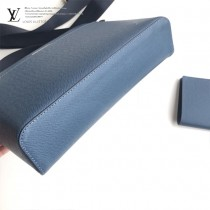 M34409藍色 原版皮 男士斜背包 尺寸28 cm