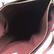 M44348原版皮 紫紅 拉鏈Tote手袋