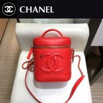 CHANEL 原版皮 化妝包-02  進口小羊皮 內裏配牛仔 正方型收納包化妝箱