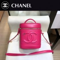 CHANEL 原版皮 化妝包-03  進口小羊皮 內裏配牛仔 正方型收納包化妝箱