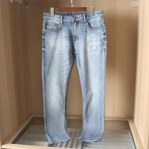 19克羅系重工設計春夏立體浮雕刺繡 修身款牛仔褲男士