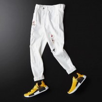 19ss夏季小直筒薄款破洞烫钻牛仔裤男士白色牛仔裤 高端精品潮牌仔裤