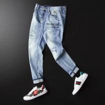 19ss夏季小直筒薄款破洞水洗牛仔褲 男士潮流刺繡長褲 青年款仔褲