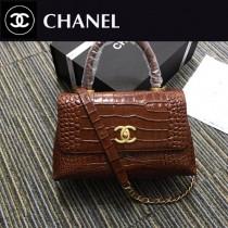 CHANEL 原版皮 A93050-03 最新款cocohandle牛皮壓花鱷魚紋羊皮革配與手柄單肩斜挎鏈條包