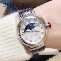 寶格麗 新款月相腕表 皮帶款 弧形月相視窗置於珍珠貝母表盤上方