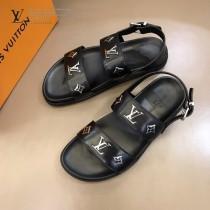 LV 男士拖鞋 涼鞋 奢品男士拖鞋,11高端品質,頭層牛皮材質,休閑陽光寬松舒適型