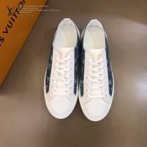 LV 限定款牛仔布配小牛皮低幫帆布鞋