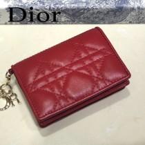 DIOR迪奧 編號0011-03原版皮新款Lady Dior藤格紋漆皮革翻蓋式卡套
