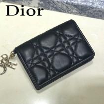 DIOR迪奧 編號0011-04原版皮新款Lady Dior藤格紋漆皮革翻蓋式卡套