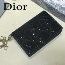 DIOR迪奧 編號0011-07原版皮新款Lady Dior藤格紋漆皮革翻蓋式卡套