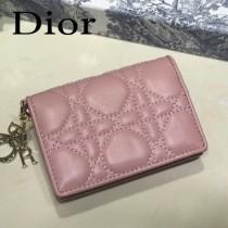 DIOR迪奧 編號0011-01原版皮新款Lady Dior藤格紋漆皮革翻蓋式卡套