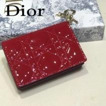 DIOR迪奧 編號0011-06原版皮新款Lady Dior藤格紋漆皮革翻蓋式卡套