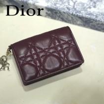 DIOR迪奧 編號0011-02原版皮新款Lady Dior藤格紋漆皮革翻蓋式卡套