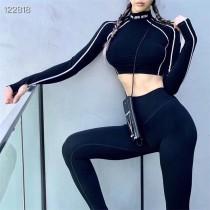 SMFK露腰顯瘦緊身瑜伽健身套裝瑜伽套裝