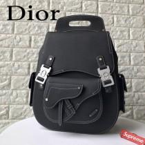 DIOR迪奧原版皮春夏新款 黑色粒面觸感小牛皮和白色縫線肩背包