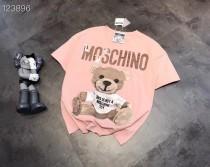MOS粉色帖布熊短袖T恤衫