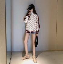 Gucci19新款復古風拼接經典雙G滿印外套