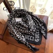 GUCCI古馳新款原單豹紋羊絨方巾 G花卉羊絨方巾