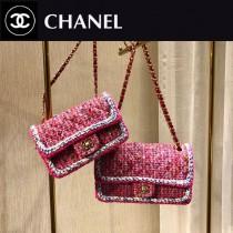 CHANEL1116-6-2 CHANEL香奈兒 毛呢珠片編織原版皮鏈條包