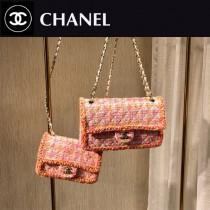CHANEL1116-6-3 CHANEL香奈兒 毛呢珠片編織原版皮鏈條包