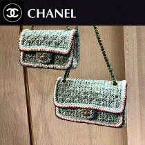 CHANEL1116-6-1 CHANEL香奈兒 毛呢珠片編織原版皮鏈條包