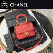 AS1357-1 chanel 2020新款圓環手柄 原版皮口蓋包菱格 啞光羊羔皮 鏈條手提包