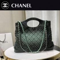 chane1 2020早春新款原版皮 31手袋 洗水漸變牛仔購物袋