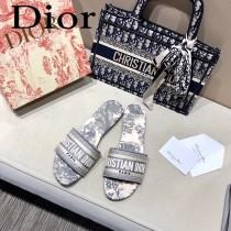 Dior-14  代購頂級春夏膠囊系列立體刺繡度假平底字母拖