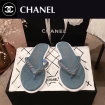 Chanel-01 春季新款 牛仔 鏈條人字拖鞋