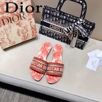 Dior-12  代購頂級春夏膠囊系列立體刺繡度假平底字母拖