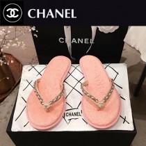 Chanel-02 春季新款 牛仔 鏈條人字拖鞋