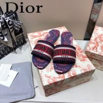 Dior-13  代購頂級春夏膠囊系列立體刺繡度假平底字母拖