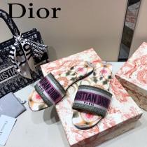 Dior-08  代購頂級春夏膠囊系列立體刺繡度假平底字母拖