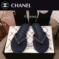 Chanel-03 春季新款 牛仔 鏈條人字拖鞋