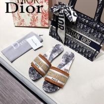 Dior-07  代購頂級春夏膠囊系列立體刺繡度假平底字母拖