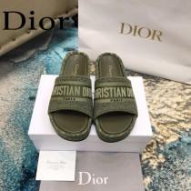 Christian Dior-05  20ss老花刺繡棉布拖鞋