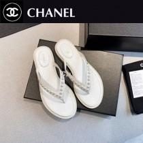 Chanel-02  2020春季新款 珍珠人字拖鞋