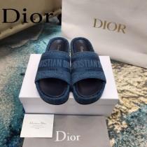 Christian Dior-03  20ss老花刺繡棉布拖鞋