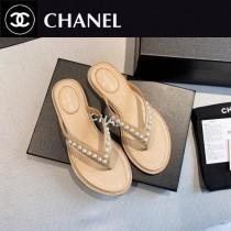 Chanel-03  2020春季新款 珍珠人字拖鞋